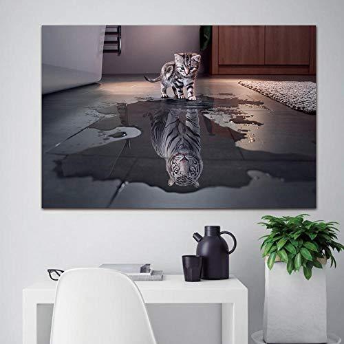 wZUN Póster artístico Impreso Pintura Pared Tablero de imágenes Animal Gato y Perro Lienzo Sala de Estar decoración del hogar 60x90cm Sin Marco