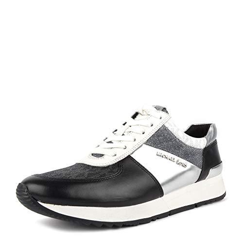 Michael Kors Michael by Allie Schwarze Sneakers aus Leder und Silber, Damenschuh 38.5 Schwarz/Silber