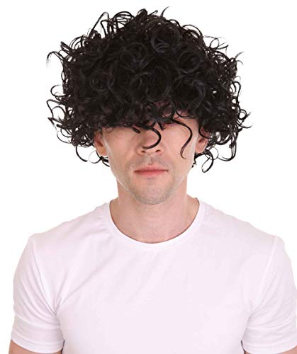 Halloween Party Online 80s Prince of Pop Star Curly Hair Wig, Black HM-082A