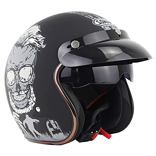 Casco Moto Abierto Casco Moto Jet Vintage Casco De Motocicleta 3/4 ECE Homologado Casco Medio Retro Media Cara Casco De Protección Cascos Abatibles para Mujer Hombre con Visera B,M=56~57cm