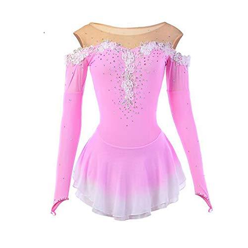 LWQ Eiskunstlauf-Kleid-Frauen-Mädchen Eislaufen Kleid rosa Blume Halo Färben Spandex Mesh-hohe Elastizität-Wettbewerb Skating Wear,M