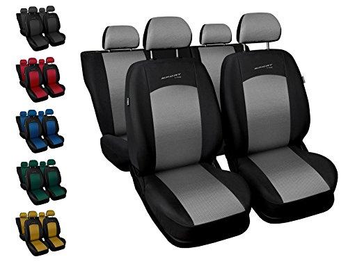 Carpendo Sitzbezüge Auto Set Autositzbezüge Schonbezüge Schwarz-Silber Vordersitze und Rücksitze - Airbag geeignet - Sport Line