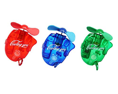 F-tomorrow Carabiner Water Misting Fans Mini Cooling Fans with Sater for Disney Outdoor leisureBeach On Foot BBQ and More 3PCS