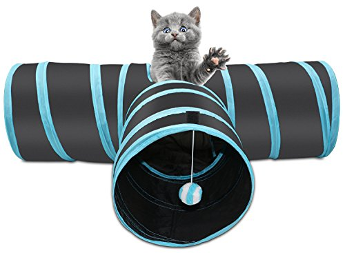 Xcellent Global PT035 - Túnel plegable de 3 vías para gato con bola para gato, color negro y azul