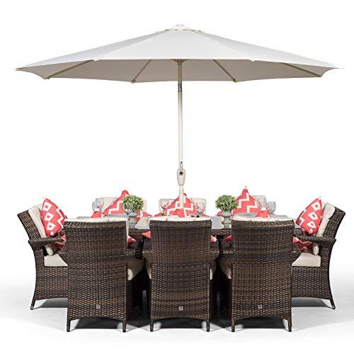 Arizona Rattan Gartenmöbel Set für 8 Personen Braun | Rechteckige Polyrattan Garten Möbel Sitzgruppe mit Tisch, Getränkekühler und Sonnenschirm | Lounge Möbel, Balkon Möbel Set | Mit Abdeckung