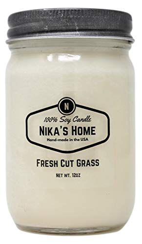 Nika's Home Fresh Cut Grass Soy Candle - 12oz Mason Jar