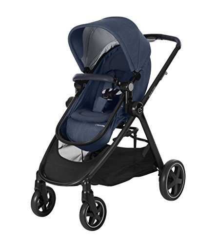 Maxi-Cosi ZELIA Baby Kinderwagen Leichter Urban Kinderwagen ab Geburt Reisesystem mit Stubenwagen 0 Monate - 3.5 Jahre 0-15 kg Nomad Blau