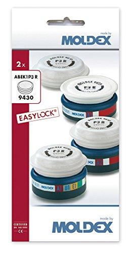 """Moldex 9430 12 - Filtro premontado A1B1E1K1 P3 R para""""Series 7000 Plus 9000"""" Easy Lock (2 piezas), color blanco"""