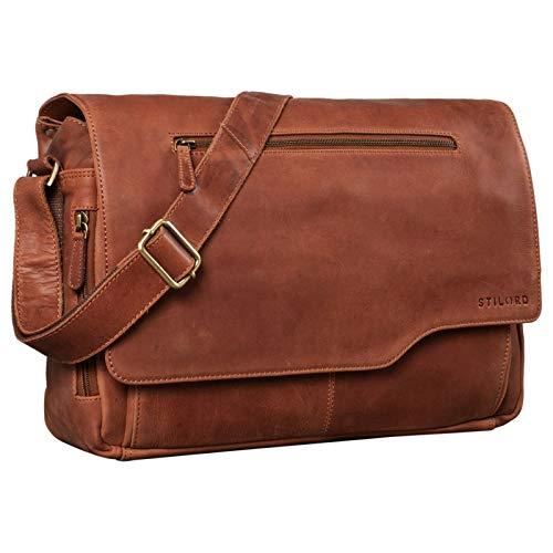 STILORD 'Marvin' Leather Bag Men Messenger for Business University College Vintage Crossbody Shoulder Bag 15.6 inch Laptop Genuine Leather, Colour:Andorra - Brown