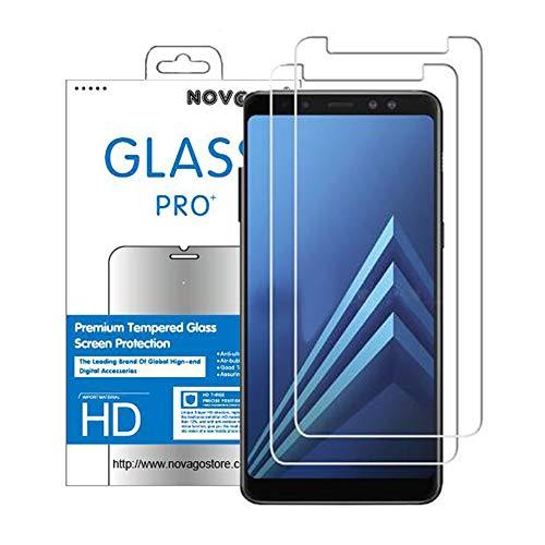 NOVAGO Compatible avec Samsung Galaxy A8 2018 -Lot de 2 Films Protection écran Verre trempé résistant (Films Plus Petits Que l'écran)