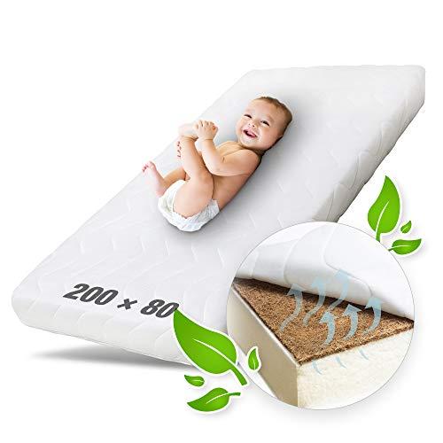 Ehrenkind® Kindermatratze Kokos | Baby Matratze 80x200 | Babymatratze 80x200 mit hochwertigem Schaum, Kokosplatte und Hygienebezug
