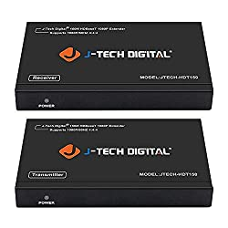 professional Cat6 150 m HDBaseT 1080P Extender PoC, a long-range J-Tech Digital HDMI Extender beyond bidirectional infrared, supports Dolby Digital, DTS with EDID, CEC, RS-232 passthrough (JTECH-HDT150)