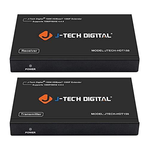 J-Tech Digital Long Range HDMI Extender Over Cat6 150m/492ft HDBaseT 1080P Extender PoC, Bi-Directional IR, Supports Dolby Digital, DTS, with EDID, CEC, & RS-232 Passthrough (JTECH-HDT150)