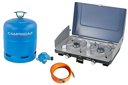 Campingaz R907 leere Butan Gasflasche, 2.75 Kg Fassungsvermögen, geeignet für alle zweiflammigen Campingkocher + 200S, Gas-/Tischkocher, 4,200 Watt, kompakter Outdoor mit Windschutz