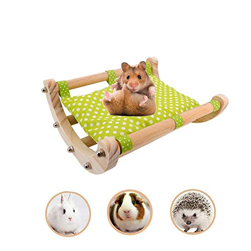 ASOCEA Cama coctelera de madera de cerdo de Guinea con almohadilla extraíble para casa de erizo ropa de cama accesorios de jaula de juguete marco desmontable de madera