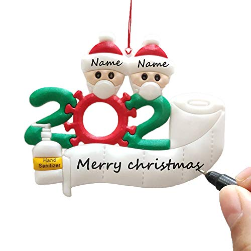 Doicuik 2020 Christmas Ornament Personalized Quarantine Survivor Family Members with Face Mask Hand Sanitizer Toilet Paper Special Keepsake Tree Hanging (Family of 2)