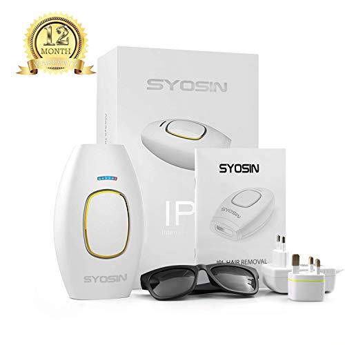 SYOSIN IPL Haarentfernungsgerät für Gesicht Dauerhaft Lichtbasierte Haarentfernung Systeme für Körper, Gesicht Bikini Zone Achseln Heimgebrauch Weiß mit Schutzbrille