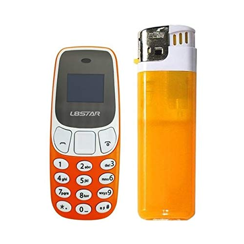 Mini Teléfono Móvil el más pequeño del Mundo con Doble SIM y Cambiador de Voz L8STAR Diminuto Enano (Naranja)