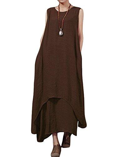 Romacci Lässige Retro Damen Lose Kleid Sleeveless O Ansatz Taschen Boho Langes Maxi Kleider S-5XL (Kaffee, L)