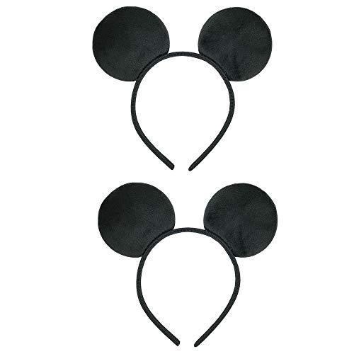 CHuangQi - Diadema con orejas de ratón (2 unidades), diseño de orejas negras para fiestas de cumpleaños de niños y niñas