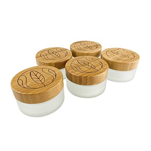 Wachsmann | Hochwertige Glastiegel & Pipetten-Flaschen mit Bambusdeckel | Für nachhaltige DIY-Naturkosmetik | Mit Geschenkverpackung | Reise Behälter für Salben & Lotionen (100g graviert | 5 Stück)