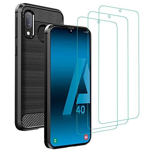 ivoler Coque pour Samsung Galaxy A40 avec Pack de 3 Protection écran en Verre Trempé, Fibre de Carbone Souple TPU Housse Etui de Protection en Silicone Antichoc - Noir