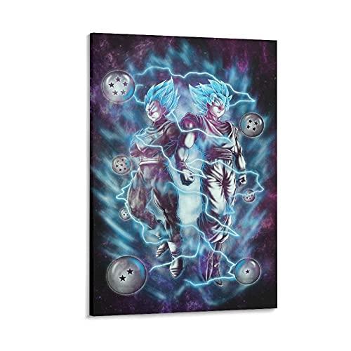 Heiwu Goku X Vegeta SSJ - Póster de lienzo azul y arte de pared con impresión moderna para dormitorio familiar (20 x 30 cm)