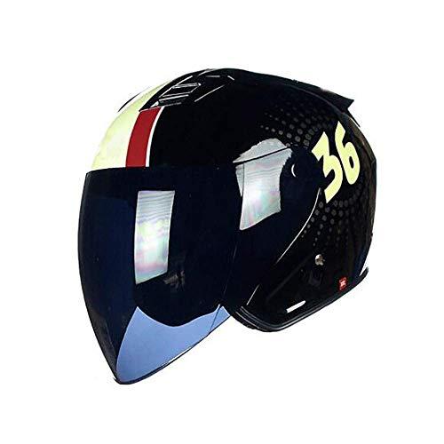 ZHEN Retro Jet-Helmet Biker Cruiser Chopper Vintage Scooter-Casco Mofa Moto-Helmet Bobber & middot; Sun Visor Certificación ECE & middot; Cascos Abiertos Diseño de ventilación Lente Desmontable