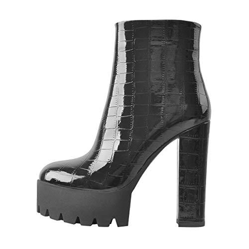 Only maker Damen Ankle Boots Plateau Blockabsatz Stiefeletten Winter Damenschuhe in Reptiloptik Schwarz 46 EU