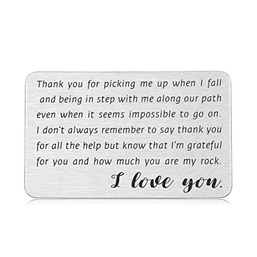 Engraved Wallet Card Insert for Husband Boyfriend Christmas Gifts for Men Women Friend Birthday Anniversary Valentines Gifts for Him Her Fiance Groom Wedding Thank You I Love You Note Wife Girlfriend