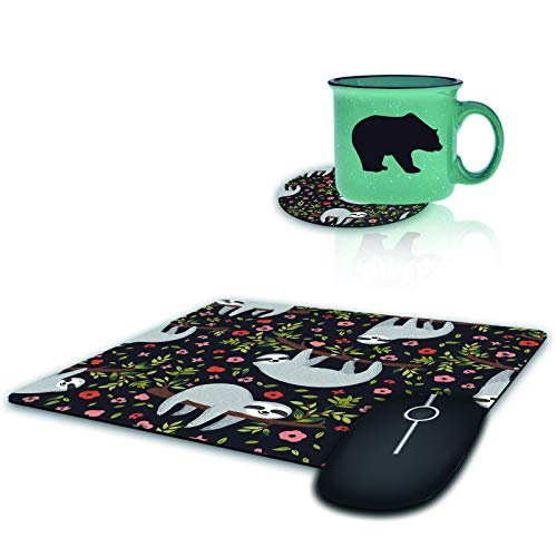 Gaming Mouse Pad with Coffee Table Coaster, Funny Sloth on Tree Design Mousepad Non-Slip Rubber Gaming Mouse Pad Rectangle Mouse Pads for Computers Laptop