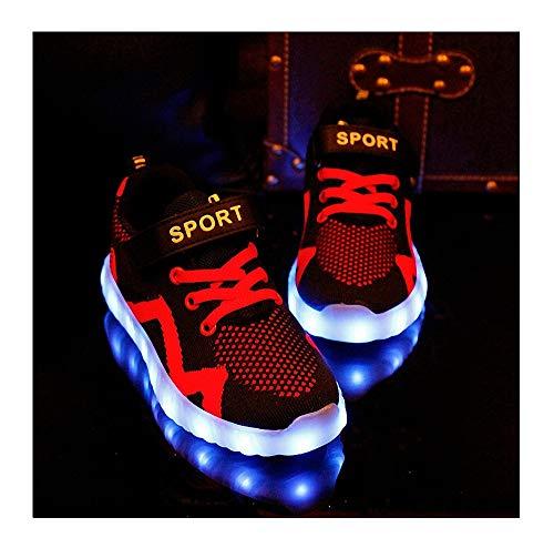 Kinder LED Schuhe LED Leuchtende Blinkende Schuhe Mode Blinkende Turnschuhe Low-top Blinkende Schuhe USB Lade Outdoor Leichtathletik Beiläufige Paare Schuhe 7 Farbe Leuchtend Sportschuhe,Rot,32