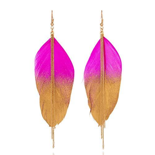 FEARRIN Arete Mujermúltiples Colores Vintage Boho India Étnico Golden Feather Cuelga Los...