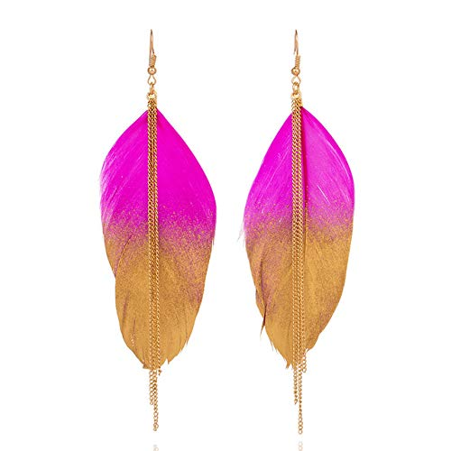 FEARRIN Arete Mujermúltiples Colores Vintage Boho India Étnico Golden Feather Cuelga Los Pendientes De Gota para Las Mujeres Femeninas Joyería De La Boda AccesoriosBarbie Pink