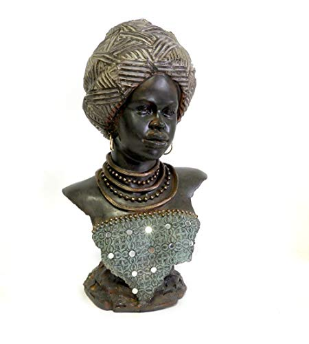 Dependable Home Collection African Woman Head Figurine 12.5' Sculpture in Beautiful Traditional Clothing