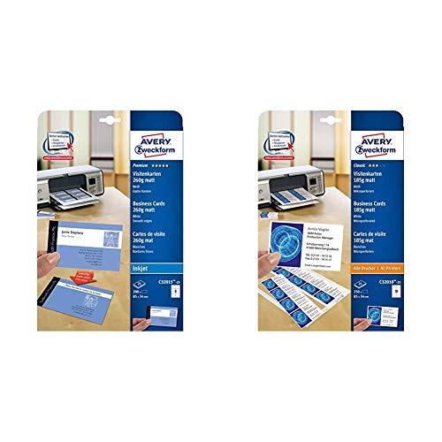 AVERY Zweckform C32015-25 Premium Visitenkarten (200 Stück, 85 x 54 mm, beidseitig bedruckbar) & C32010-25 Classic Visitenkarten (250 Stück, 85 x 54 mm, beidseitig bedruckbar, matt, 25 Blatt)