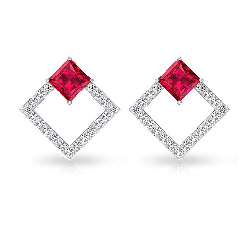 Pendiente de diamante con certificado IGI, diseño de princesa, de 1.19 quilates, color rojo, con piedra de nacimiento de julio, abierto, cuadrado, 18K Oro blanco, Par