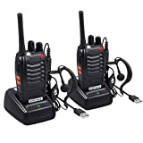 Neoteck 2 PCS FRS462MHz Walkie Talkies, Long Range 16 Channel 2 Way Rechargeable Radio Walky Talky with USB Charger Original Earpieces