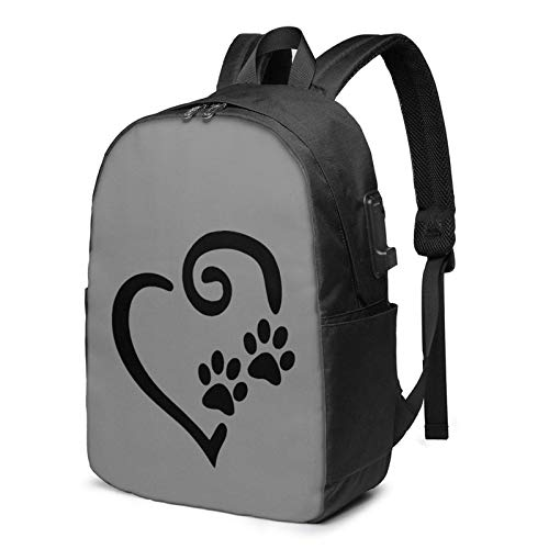 IUBBKI Bolsa para computadora mochila USB Paw Print Heart Do-G Ca-T 17 Inch Laptop Backpack For Men & Women,Travel/School Backpack With Usb Charging Port & Headphone Interface