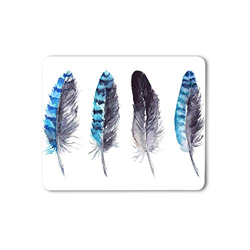 Moslion Feather Mouse Pad Jay Watercolor Abstract Art Animal Artwork Nature Black Blue Gaming Mouse Mat Non-Slip Rubber Base Thick Mousepad for Laptop Computer PC 9.5x7.9 Inch