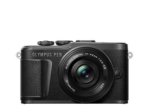 Olympus E-PL10 Pancake Zoom - Cámara de 10 MP (batería y cargador incluidas) negro - kit cuerpo con dos objetivos E-PL10 negro y EZ-M1442EZ plata