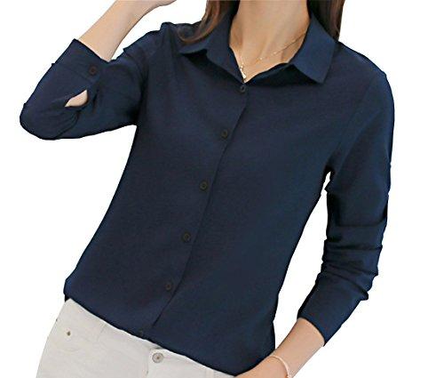 UbdehL Womens Tops Blouse Long Sleeve Work Wear Button Down Shirt Navy Blue
