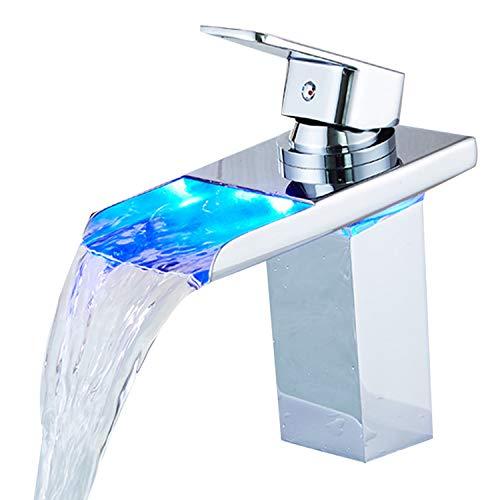 SUGU wasserhahn bad led bad armatur waschbecken wasserfall einhebelmischer waschtisch Waschtischarmatur mit Temperatursensor Wasserkraft