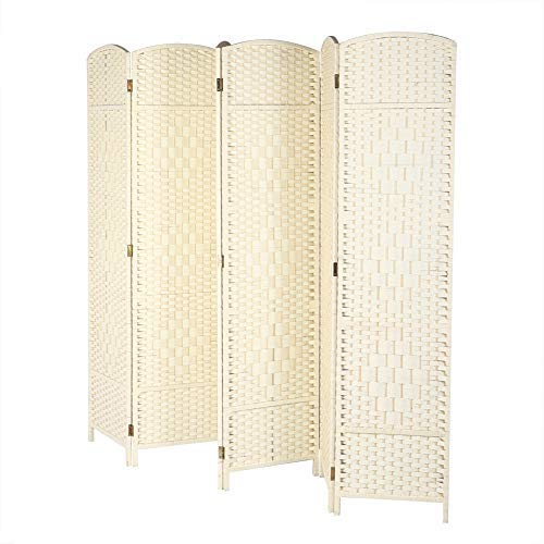 Kamerscherm, inklapbaar, voor binnen, van massief hout, inkijkbescherming, retro design, decoratieve scheidingswand voor de slaapkamer, 6 panelen Gebroken wit