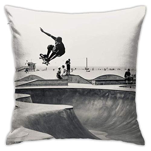 Funda de cojín decorativa para sofá, diseño de Venecia, playa, skate, parque, con cremallera, 45,7 x 45,7 cm