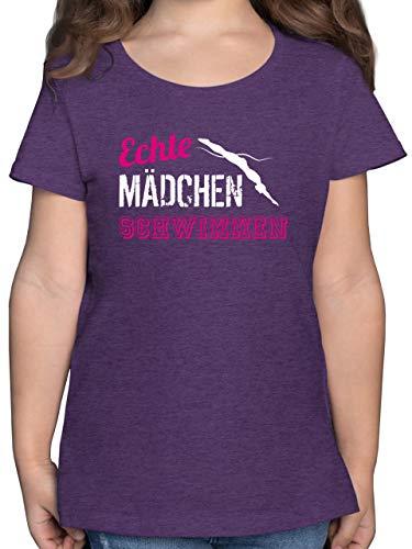Sport Kind - Echte Mädchen Schwimmen - 164 (14/15 Jahre) - Lila Meliert - F131K - Mädchen Kinder T-Shirt