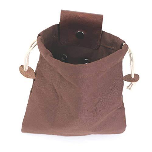 S/V Bushcraft Tasche Leather and Oxford Werkzeugtasche Faltbare Hochleistungs Foraging Pouch mit Kordelzug for Foraging Hiking Camping