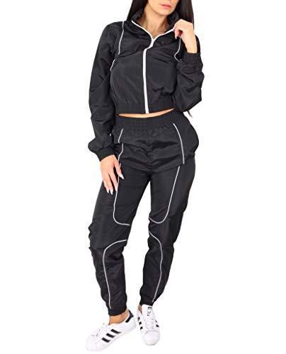 Worldclassca Damen Windbreaker Jogginganzug Jogging Suit Trainingsanzug Jogging Fitness Sport Yoga Club Sportanzug LEICHT Jacke MIT Hose Set 2TLG Langarm Blogger S-L (L, Schwarz)