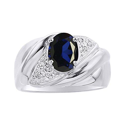 Juego de anillos de zafiro y diamante en oro blanco de 14 quilates – Anillo de piedra de nacimiento de color