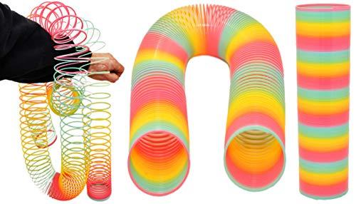 jameitop® Regenbogenspirale XXXL - SUPER lang - Bunte Springfeder Ø 7,5 x 30 cm